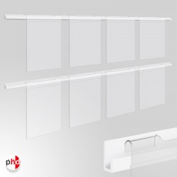 J Rail 2m Poster Display Kit, Acrylic Pockets & Picture Rail Set (Ideal for Retail Displays)