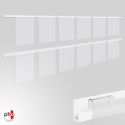 J Rail 3m Poster Display Kit, Acrylic Pockets & Picture Rail Set (Ideal for Retail Displays)