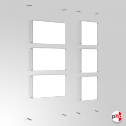 A2 Ready-made Clear Cord Set, Wall to Wall Fittings & Poster Pockets (Portrait & Landscape)