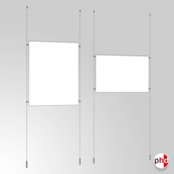 A0 Ready-made Cable Set, Ceiling to Floor Fittings & Poster Pockets (Portrait & Landscape)