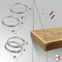 Wood Shelf Cable Hanger Set, Fittings Only (No Shelving Boards)