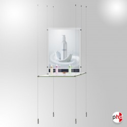 A3 Retail Glass Shelf Unit, Dual-sided Shelving & Poster Display