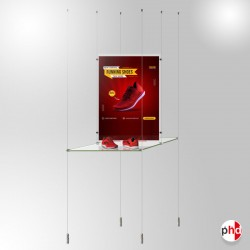 A2 Retail Glass Shelf Unit, Dual-sided Shelving & Poster Display