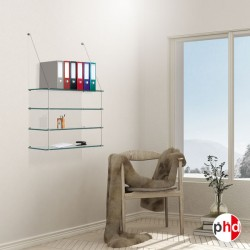 Wall Mounted Cable Shelf, Glass (Office & Home Shelving Unit)
