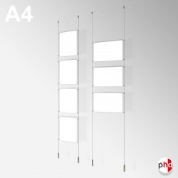 A4 Ready-made Rod Set, Ceiling to Floor Fittings & Poster Pockets (Portrait & Landscape)