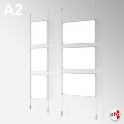 A2 Ready-made Rod Set, Ceiling to Floor Fittings & Poster Pockets (Portrait & Landscape)