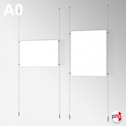 A0 Ready-made Rod Set, Ceiling to Floor Fittings & Poster Pocket (Portrait or Landscape)
