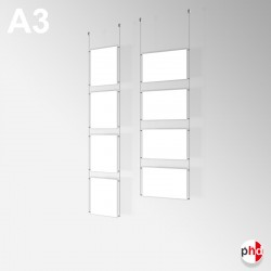 A3 Ready-made Rod Set, Ceiling Fittings & Poster Pockets (Portrait & Landscape)