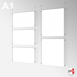 A1 Ready-made Rod Set, Ceiling Fittings & Poster Pockets (Portrait & Landscape)
