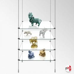 Retail Rod Display Glass Shelving Unit, Single Column (Including Glass Shelves)