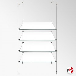 Retail Rod Display Glass Shelving Kit, Fittings Only (No Shelves Included)