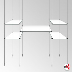 Full Product Display Glass Shelving Rod Unit, Complete (Including Glass Shelves)