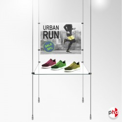 Retail Glass Shelf & Poster Panel Rod Display Unit, Complete (Safety Glass)