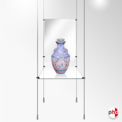Product Glass Shelf & Mirror Rod Display Unit, Complete (Safety Glass)