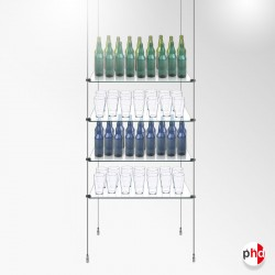 Suspended Glass Bar Shelf Tower, Complete Rod Unit (Safety Glass)