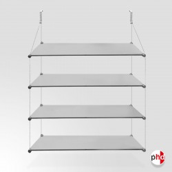 No Nails Glass Shelf, Quadruple (4x Safety Glass Included)
