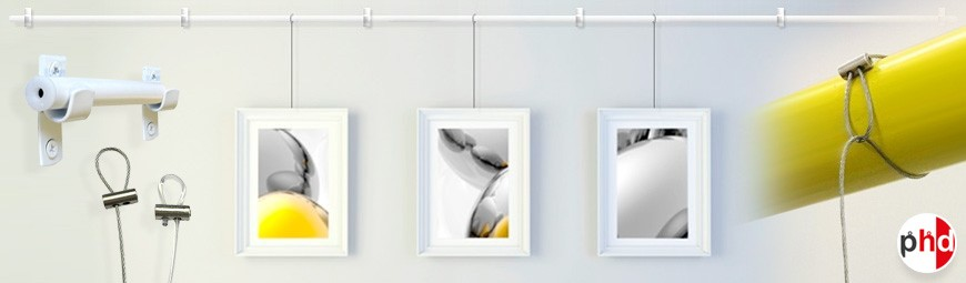 Rod-rail System, Picture Hanging for Loop Wire & Moulding Hooks