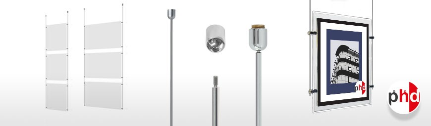 Ceiling Mounted Rod Sets, Ready-Made Systems Including Poster Pockets