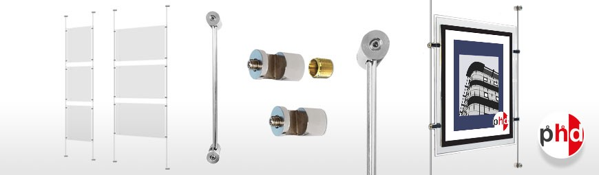 Wall Mounted Rod Sets, Ready-Made Systems Including Poster Pockets