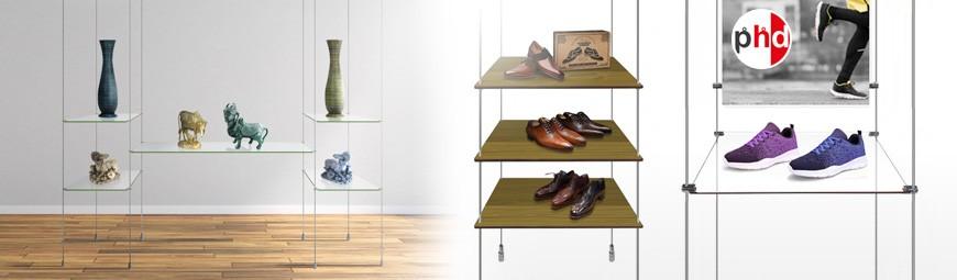 Retail Display Rod Shelves, Wood & Glass Product Shelving
