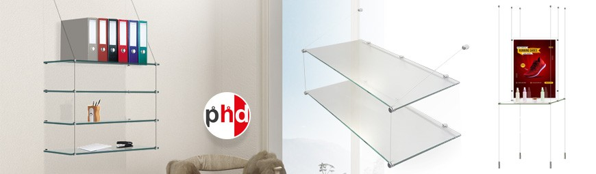 Glass Shelf Cable Systems, Suspended Shelving Units