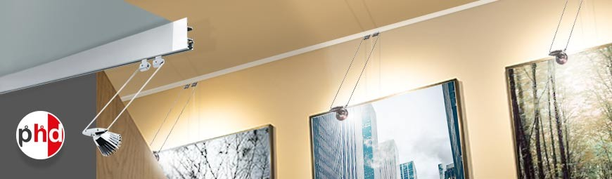 Clip Rail Max Lighting & Hanging System, LED Picture Lights & Track Combo